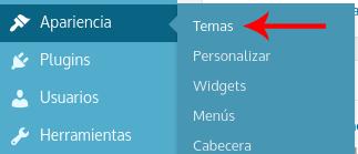 Imagen de la opción Apariencia > Temas en el Panel de Control de WordPress