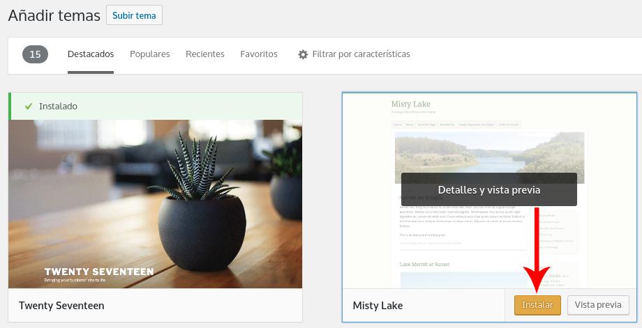 Imagen para instalar un tema de WordPress