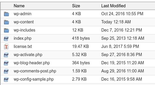 Listado de archivos de WordPress en el cPanel