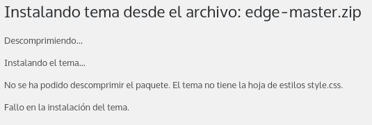 """El archivo """"style.css"""" hace falta en el tema premium de WordPress subido"""