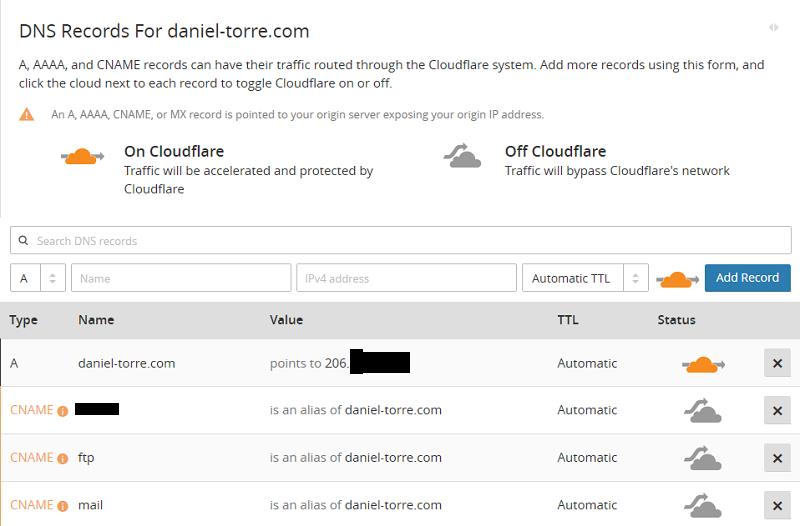 Configurar y usar Cloudflare con WordPress: Configuración DNS del dominio